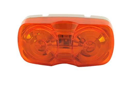 two bulb square corner clearance marker light duramold amber retail - 360