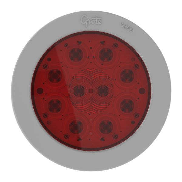 "4"" 10-Diode Pattern LED Stop Tail Turn Light with Gray Snap-In Flange - 360"