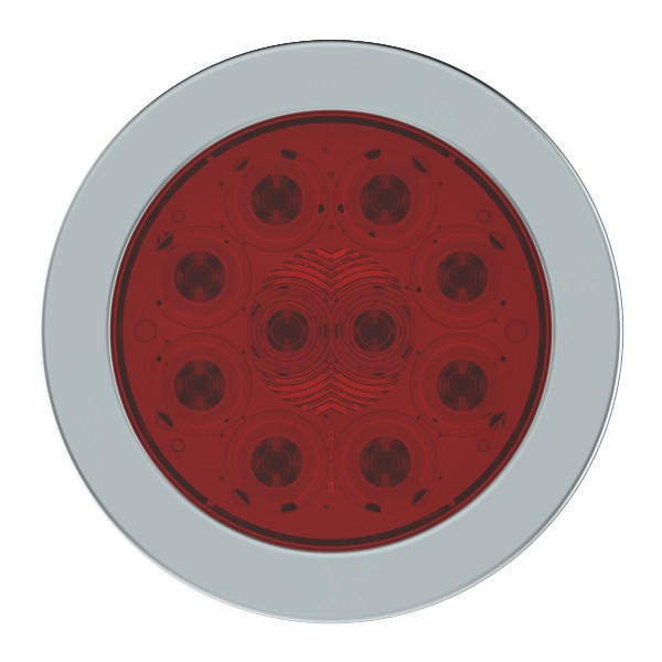 """SuperNova® 4"""" 10-Diode Pattern LED Stop Tail Turn Light with Stainless-Steel Snap-In Flange - 360"""