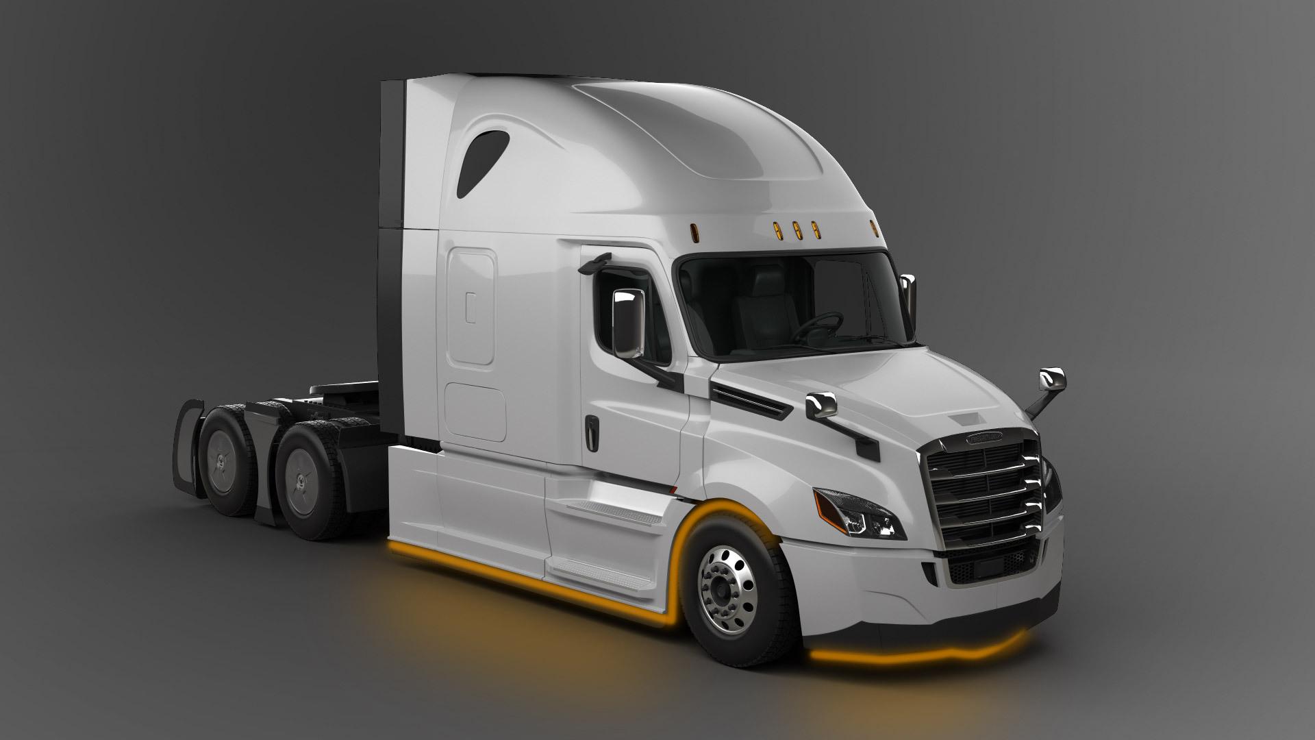Truck LED Lighting underglow on Freightliner New Cascadia model