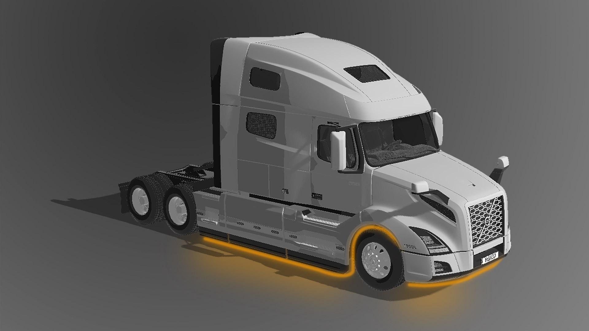 Truck LED Lighting underglow on Volvo VNL 760 model