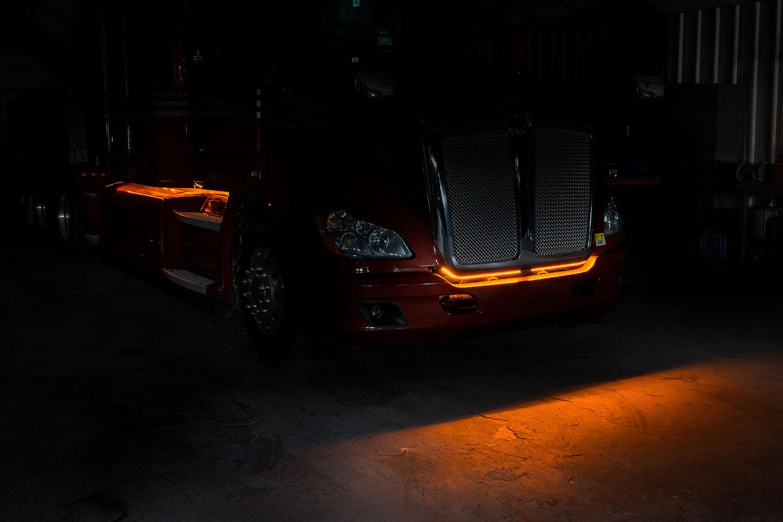Light strips on truck bumper