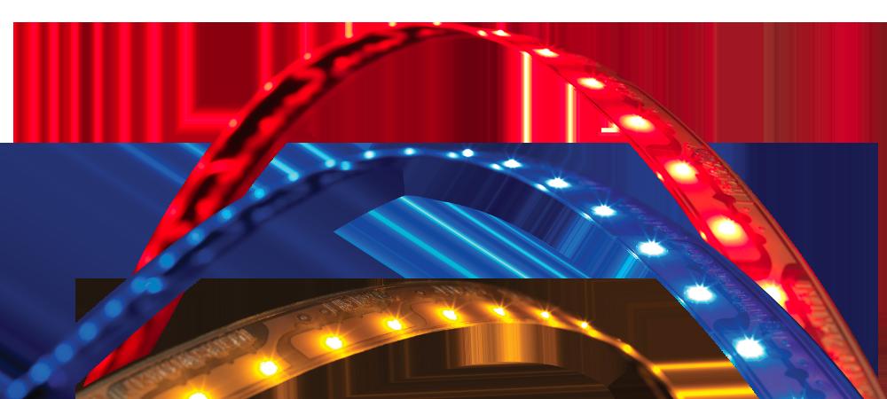 LightForm – Bandes lumineuses à DEL rouges, bleues et jaunes