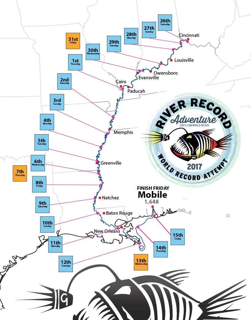 Map of Marc Phelps's journey for the world record attempt of longest journey by jon boat