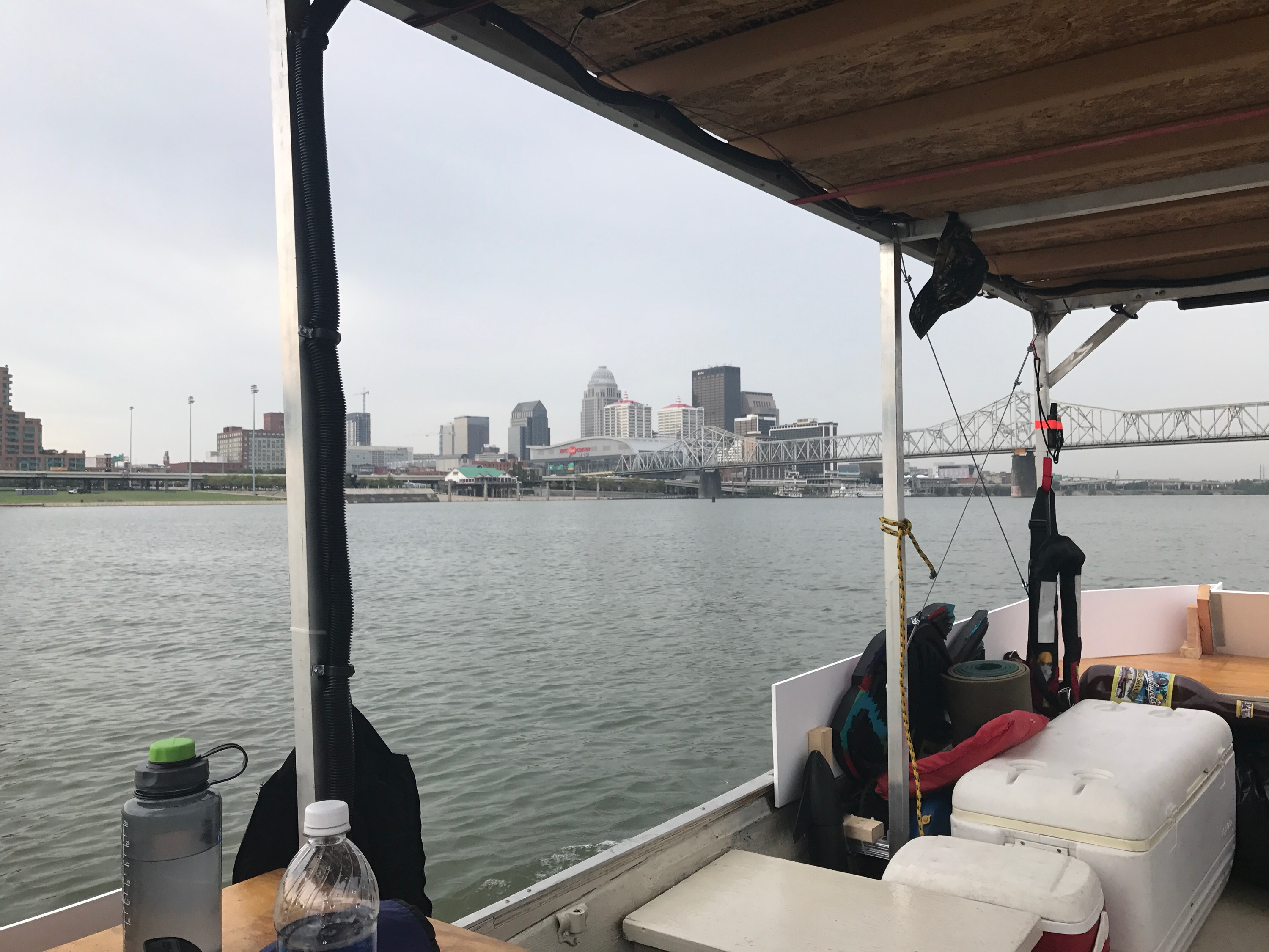 View of Louisville Kentucky from the River Record Jon Boat