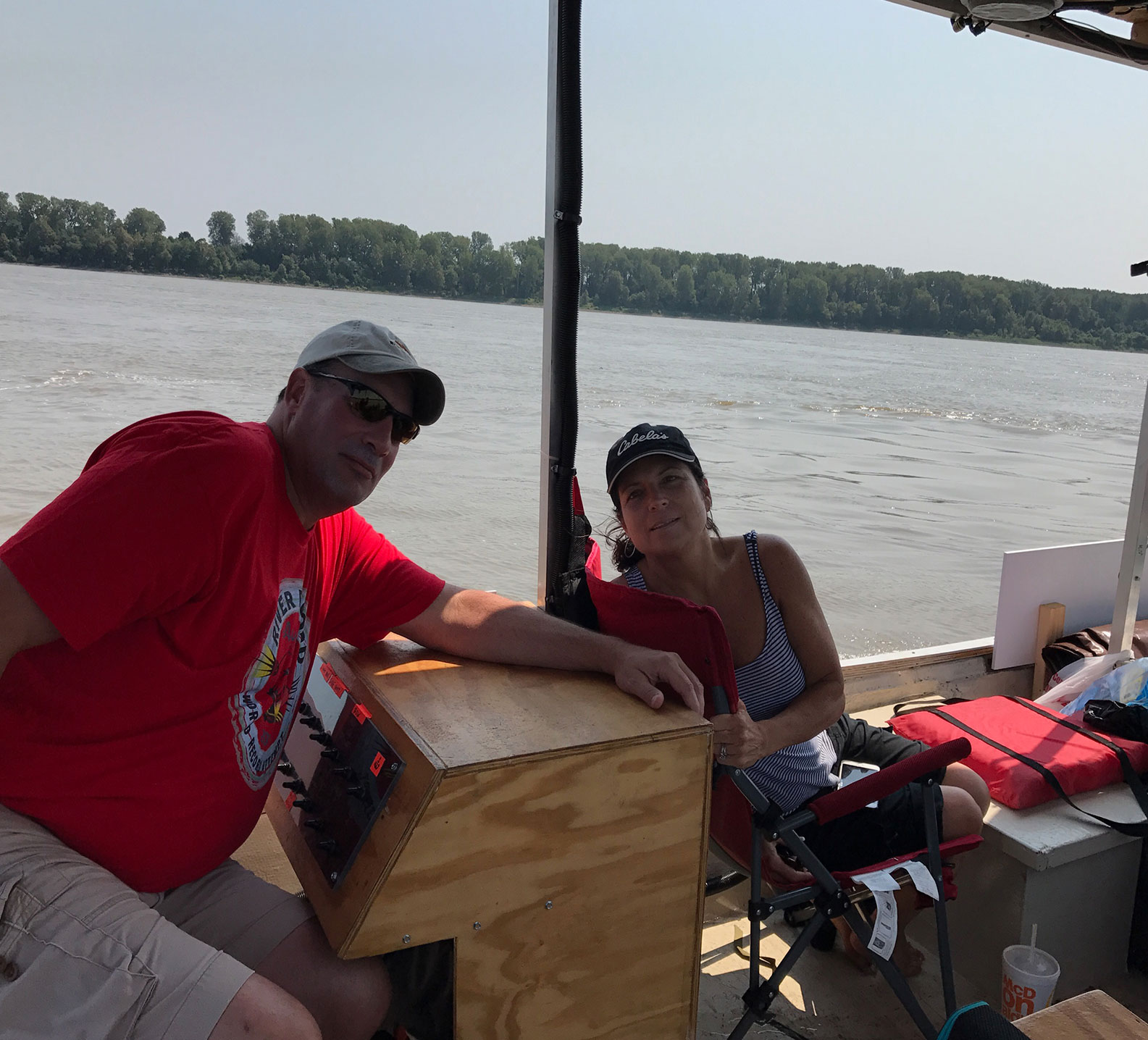 Rich and Kelly Shulte on River Record jon boat