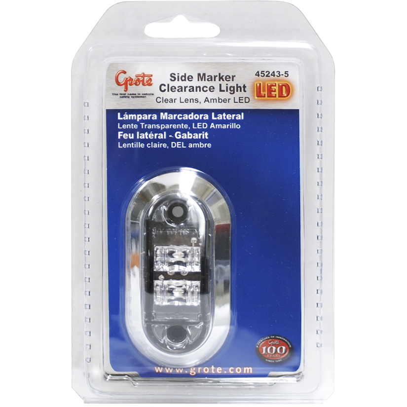 45243-5 – 2 1/2″ Oval LED Clearance Marker Light, w/ Chrome Bezel, Yellow w/ Clear Lens, Retail Pack