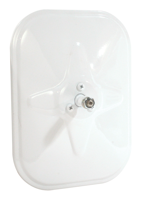 12071 – Rolled-Rim Mirror with Ball Swivel, White