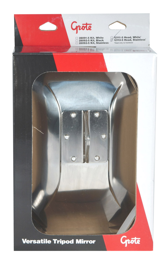 12113-5 – Side View Replacement Mirror Head, Stainless Steel, Retail Pack