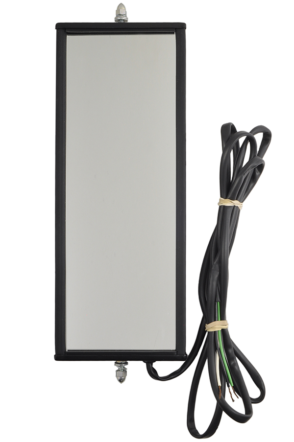 16172 – West Coast Mirror with Clearance Light, 6″ x 16″ Heated Mirror, Black