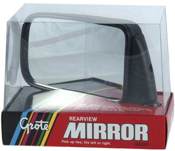 18252-5 – European Wedge Style Mirror, Black, Retail Pack