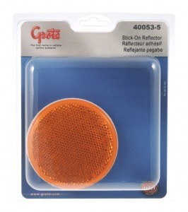 40053-5 – Round Stick-On Reflector, Yellow, Retail Pack