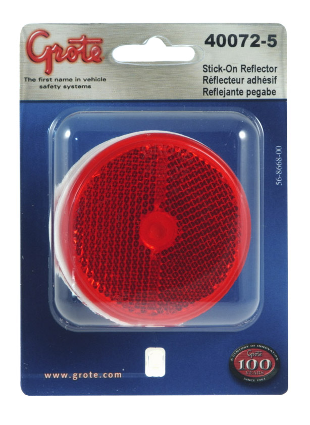 40072-5 – 2 1/2″ Round Stick-On Reflectors, Red, Pair Pack