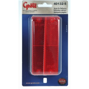 40132-5 – Mini Stick-On Screw-Mount Rectangular Reflectors, Red, Pair Pack