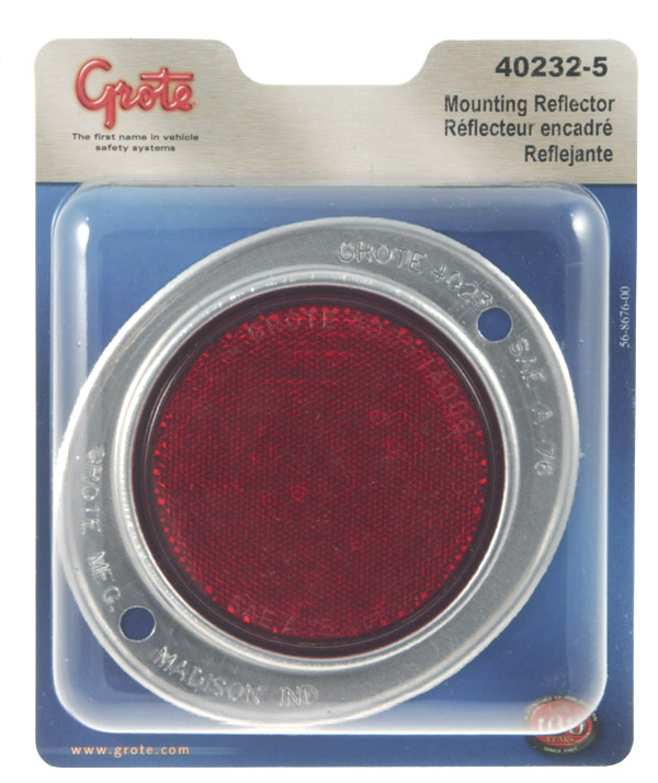 40232-5 – Aluminum Two-Hole Mounting Reflector, Red, Retail Pack
