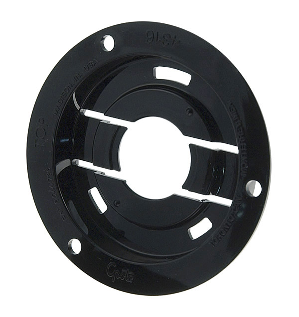 43162 – Theft-Resistant Mounting Flange & Pigtail Retention Cap For 2 1/2″ Round Lights, Mounting Flange, Black