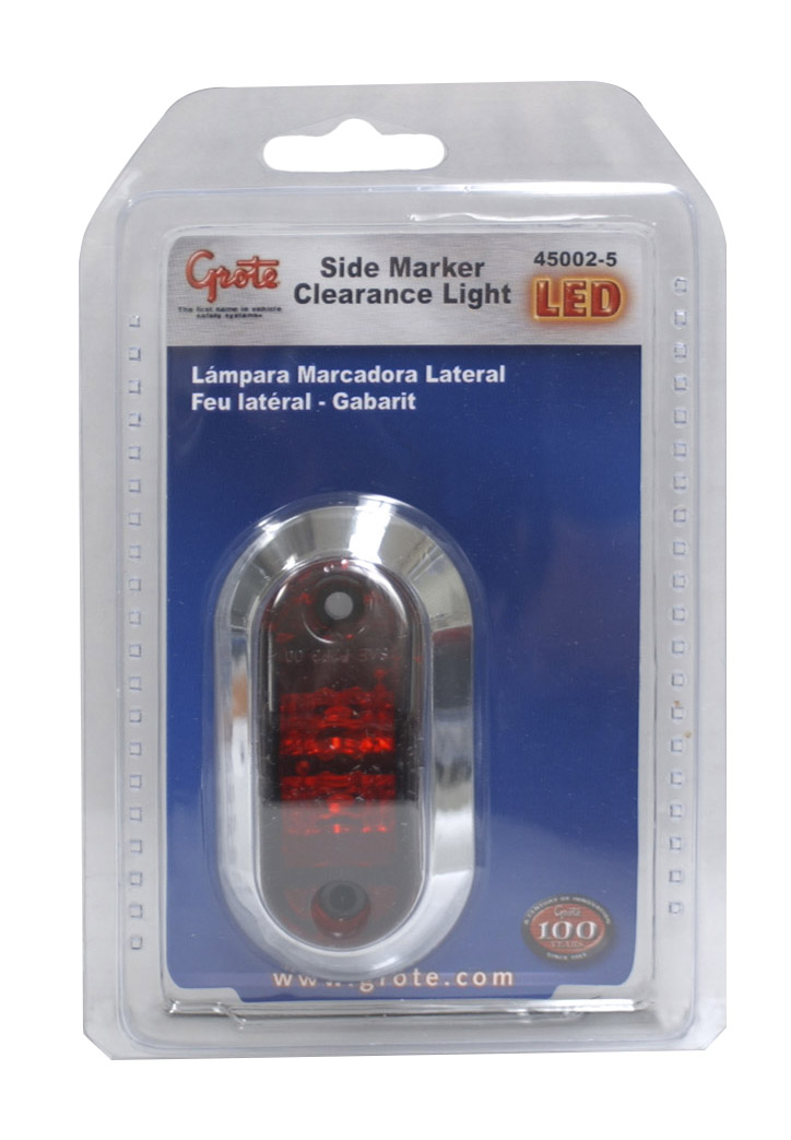 Grote Industries - 45002-5 – 2 1/2″ Oval LED Clearance Marker Light, w/ Chrome Bezel, Red, Retail Pack
