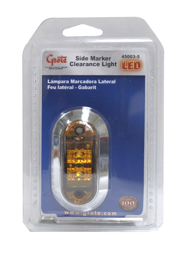 45003-5 – 2 1/2″ Oval LED Clearance Marker Light, w/ Chrome Bezel, Yellow, Retail Pack