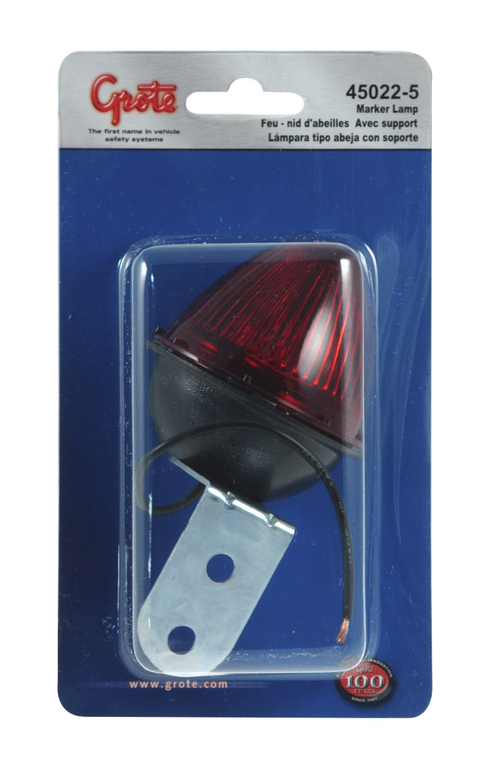 45022-5 – Beehive Clearance Marker Light with Fixed-Angle Mounting Bracket, Red, Retail Pack