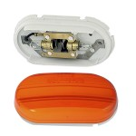 two bulb oval pigtail type clearance marker light yellow optic