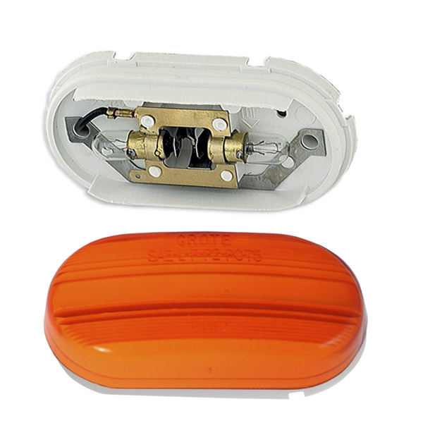 Grote Industries - 45263 – Two-Bulb Oval Pigtail-Type Clearance Marker Light, Optic Lens, Yellow