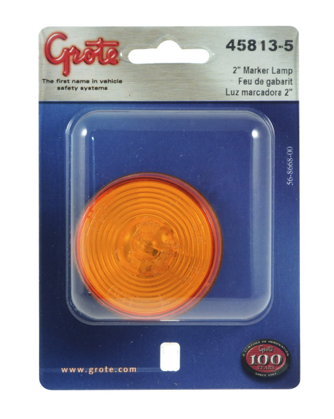 45813-5 – 2 1/2″ Clearance Marker Light, Optic Lens, Yellow, Retail Pack