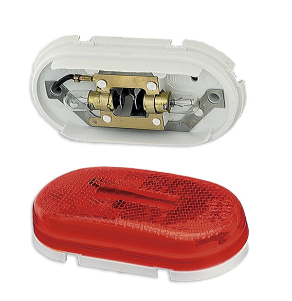 Grote Industries - 45932 – Two-Bulb Oval Pigtail-Type Clearance Marker Light, Built-in Reflector, Red