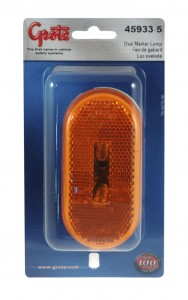45933-5 – Two-Bulb Oval Pigtail-Type Clearance Marker Light, Built-in Reflector, Yellow, Retail Pack