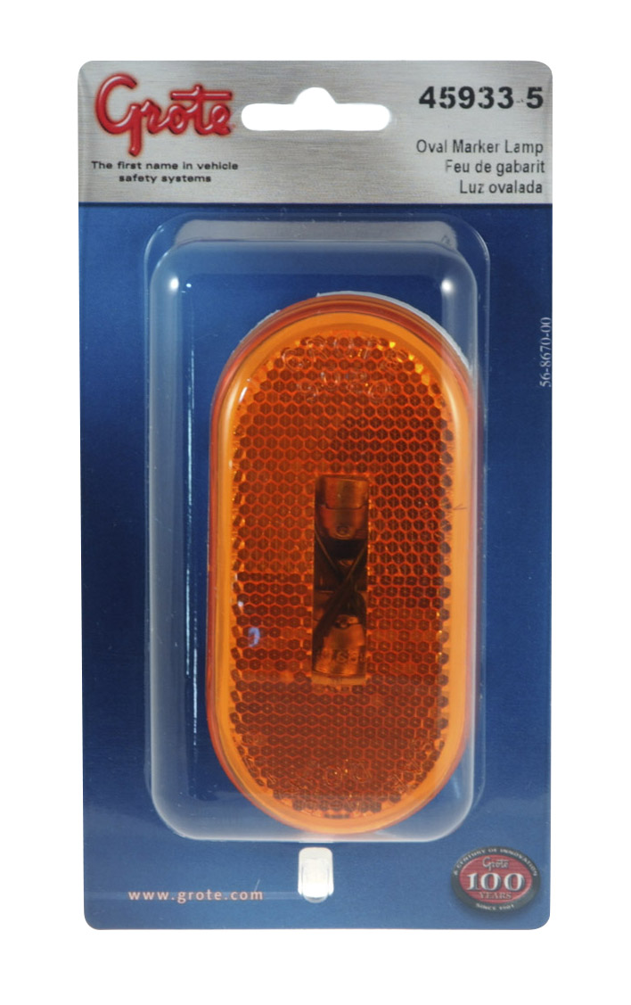 Grote Industries - 45933-5 – Two-Bulb Oval Pigtail-Type Clearance Marker Light, Built-in Reflector, Yellow, Retail Pack