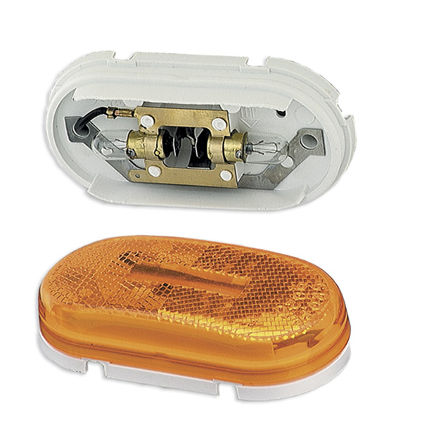 Grote Industries - 45933 – Two-Bulb Oval Pigtail-Type Clearance Marker Light, Built-in Reflector, Yellow