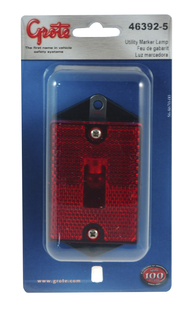 46392-5 – Rectangular Single-Bulb Clearance Marker Light with Built-In Reflector, Red, Retail Pack