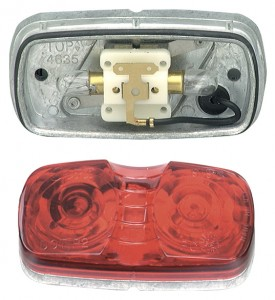Die-Cast Two-Bulb Square-Corner Clearance / Marker Lamp