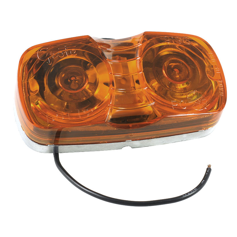 Grote Industries - 46783 – Two-Bulb Square-Corner Clearance Marker Light, Die-Cast, Yellow