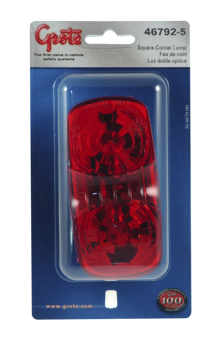 46792-5 – Two-Bulb Square-Corner Clearance Marker Light, Duramold, Red, Retail Pack