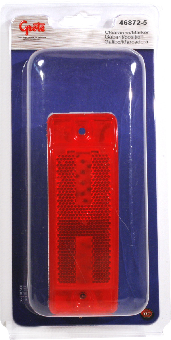 Grote Industries - 46872-5 – Sealed Turtleback® II Clearance Marker Light, Built-In Reflector, Red, Retail Pack