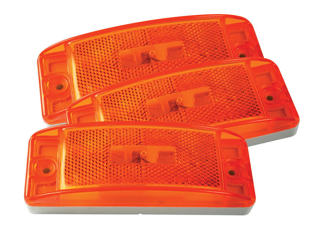 Grote Industries - 46873-3 – Sealed Turtleback® II Clearance Marker Light, Built-In Reflector, Yellow, Bulk Pack