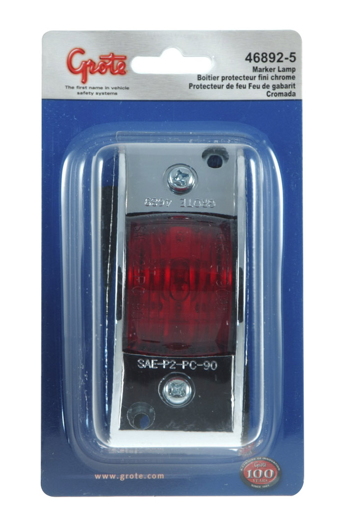 Grote Industries - 46892-5 – Chrome-Armored Clearance Marker Light, Red, Retail Pack