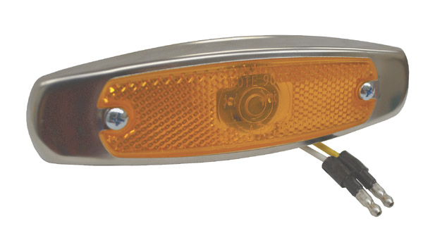 Grote Industries - 47253 – SuperNova® Low-Profile LED Clearance Marker Light, Built-in Reflector, w/ Bezel, Yellow