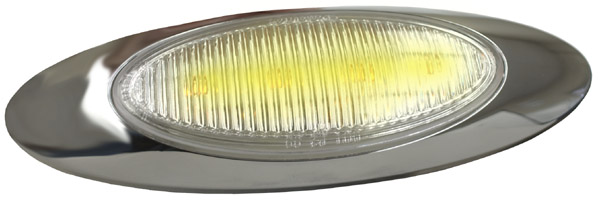 47773 – M1 Series LED Clearance Marker Light, .180 Molded Bullet w/ Bezel, Yellow w/ Clear Lens