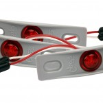 MicroNova® Dot Red LED Clearance Marker Lights With Gray Adapter Bracket.