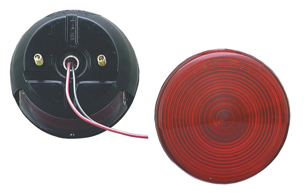 50852 – 4″ Two-Stud Stop Tail Turn Light, w/ License Window, Red