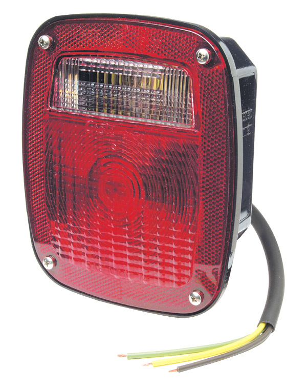 Grote Industries - 50920 – Supernova® Three-Stud LED Stop Tail Turn Light, w/ License Window, Red