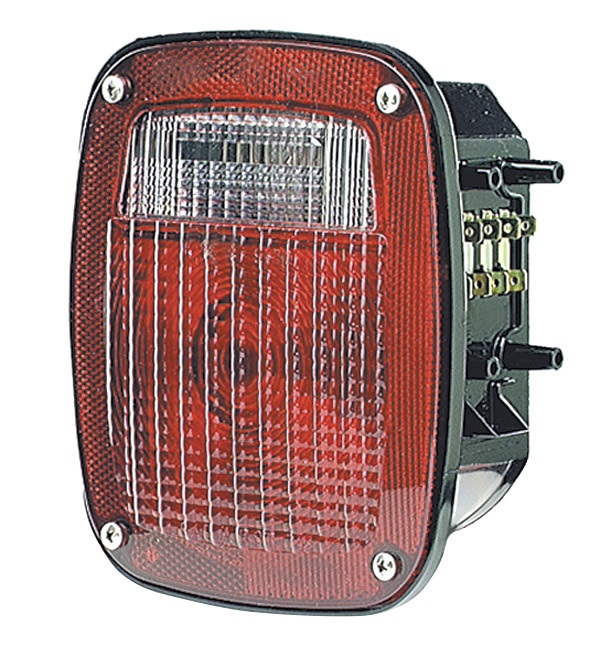Grote Industries - 50942 – Torsion Mount® Three-Stud Navistar®/Volvo® Stop/Tail/Turn Lamp, RH w/ License Window, Red