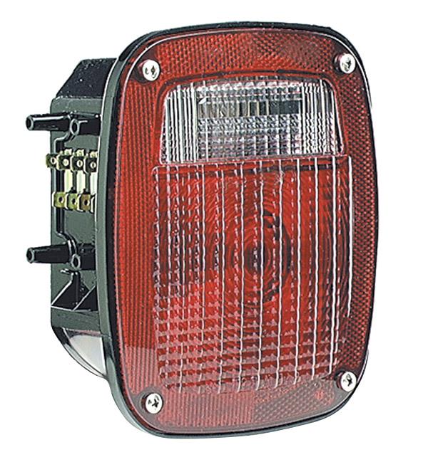50952 – Torsion Mount® Three-Stud Navistar® Volvo® Stop Tail Turn Light, LH w/ License Window, Red