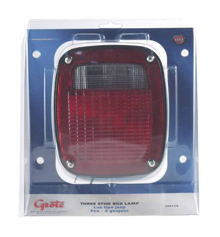 50972-5 – Three-Stud Peterbilt® Chevrolet® Jeep® GMC® Stop Tail Turn Light with Pigtail, Red, Retail Pack