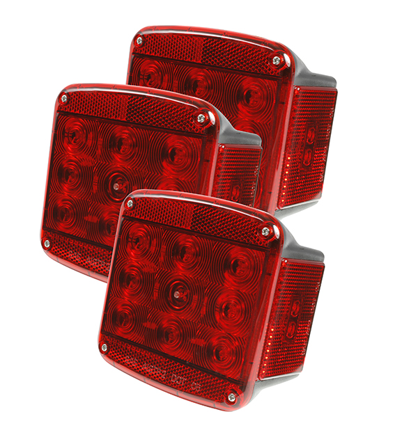 Grote Industries - 51972-3 – LED Submersible Trailer Lighting Kit, Stop Tail Turn Replacement w/ License Window, LH, Red, Bulk Pack