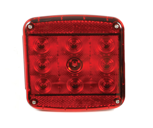 Grote Industries - 51972 – LED Stop Tail Turn Replacement Light w/ License Window for Submersible Trailer Lighting Kit, LH, Red
