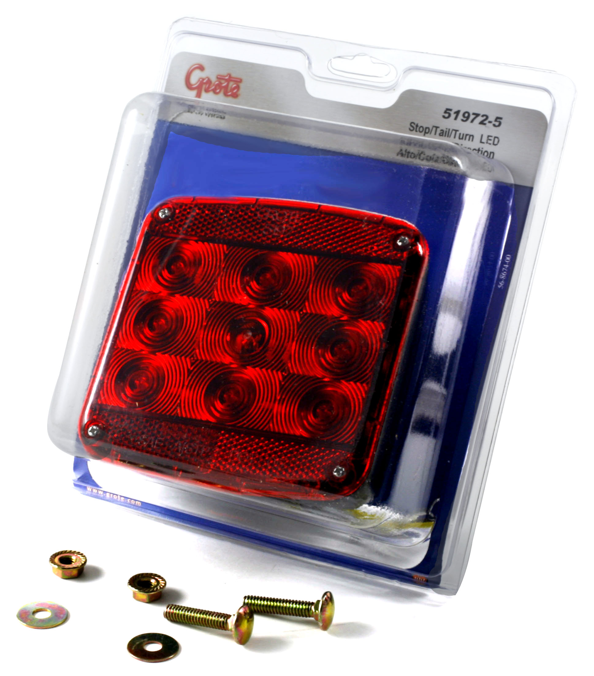 Grote Industries - 51972-5 – LED Submersible Trailer Lighting Kit, Stop/Tail/Turn Replacement w/ License Window, LH, Red