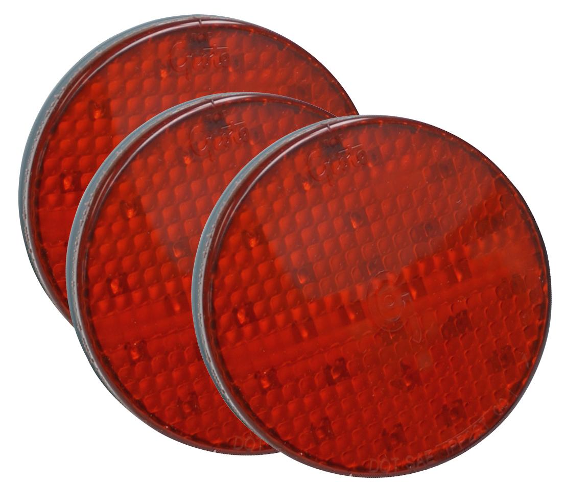 52162-3 – SuperNova® 4″ Full-Pattern LED Stop/Tail/Turn Lamp, Grommet Mount 24V, Red, White Theft-Resistant Flange, Male Pin, Red, Bulk Pack