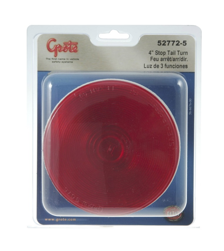 Grote Industries - 52772-5 – Torsion Mount® II 4″ Stop Tail Turn Light, Female Pin, Red, Retail Pack